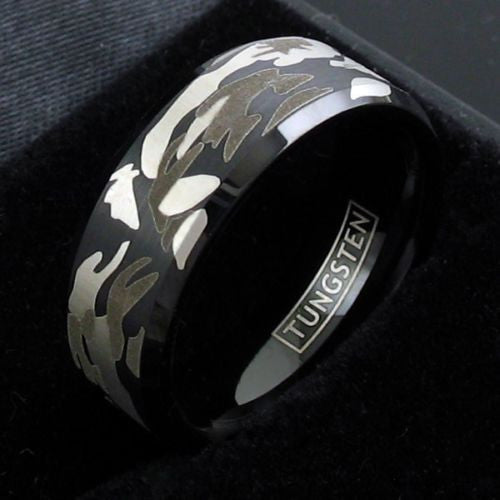 Men's Outdoorsman Tungsten Wedding Ring / Band Etched Camo Pattern Black Gray Silver Bands sizes 8 - 12 Jewelry Men