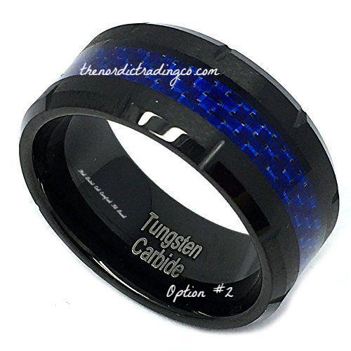 Blue Lives Matter in Black Tungsten Carbide Thin Blue Line Carbon Fiber Inlay Men's / Couples Rings Wedding Bands 1st Responder Police Officer