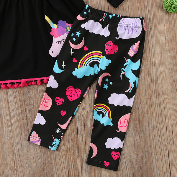 Big Applique Unicorn 2 pc Set Tunic Top & Leggings Black Background Hot Pink Pom Pom Trim Long Sleeve Shirt Little Girl's Toddlers Play Clothes Clothing Unicorns Rainbows Decorate Long Bottoms Pants