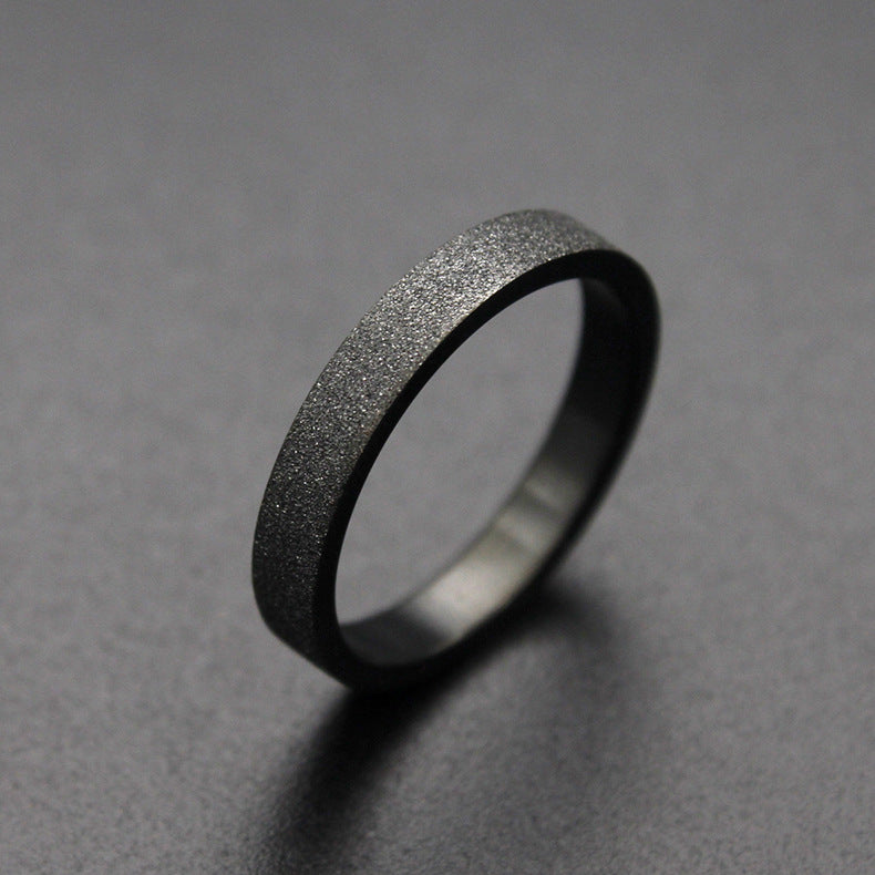 Womens Black 3mm Ring Sandblasted Texture Couples Rings 2 pc Set