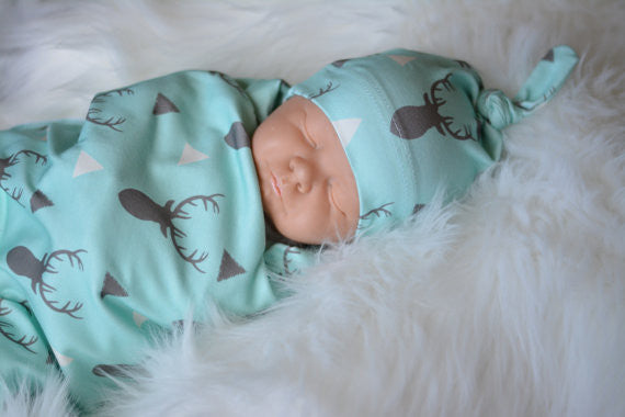 Deer Print Baby Blue Beanie Hat & Blanket Infant Accessories Gifts Newborn Boy Affordable Shower Gift