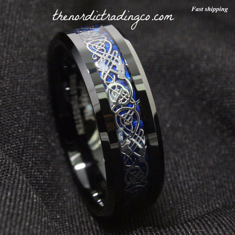 Dramatic Celtic Dragon Silver Tungsten Ring Deep Blue Inlay Men's Women's Unisex / Jewelry Wedding Band Affordable Luxury SZ 4.5 -13