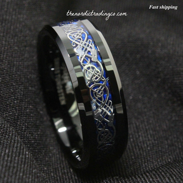Dramatic Celtic Black Dragon Tungsten Ring Deep Blue Inlay Men's Women's Unisex / Jewelry Wedding Band Affordable Luxury SZ 6-13