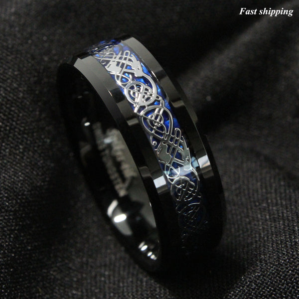 Dramatic Celtic Black Dragon Tungsten Ring Deep Blue Inlay Men's Women's Unisex / Jewelry Wedding Band Affordable Luxury SZ 4.5 -13