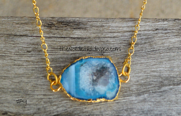 Plunge Deep Blue Waters Enhanced Natural Quartz Gold Outlined Gifts Her Drusy Druzy Necklaces Womens Women's Jewelry