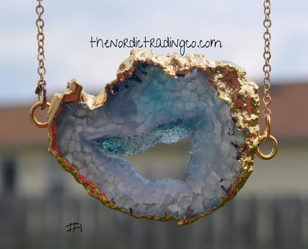 Plunge Deep Blue Waters Enhanced Natural Quartz Gold Outlines Chain Shop Gifts Her Necklaces Jewelry