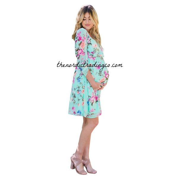 Blue or Pink Maternity Dress English Roses Floral Pattern Women's Flower Pregnancy Dresses Baby Shower Boy Girl Baby To Be Mommy Mother Mom Mother's Day