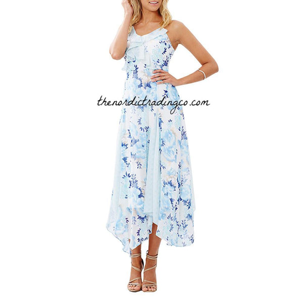 Women's Blue Floral Summer Dress Asymmetrical Hem Dresses Lace Insets Midi Length Sale Price Marked is 40% Off Romantic Beach Resort Wear M L XL XXL Womens Sun Apparel Clothing
