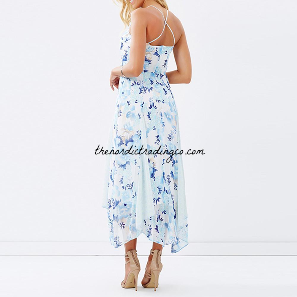 aad24101956ed5 ... Women's Blue Floral Summer Dress Asymmetrical Hem Dresses Lace Insets  Midi Length Sale Price Marked is ...