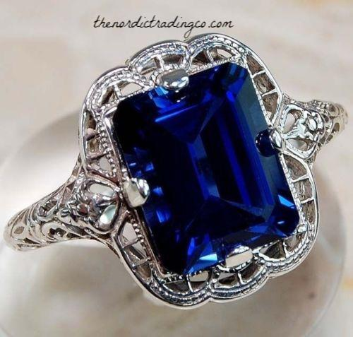 Womens Art Deco Inspired Sapphire Blue Topaz Engagement Ring 6,7,8,9,10 Women's Rings Jewelry Gifts