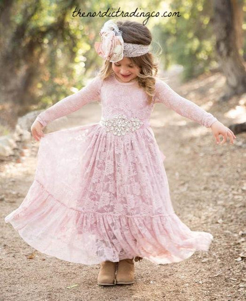 Girls Lace Maxi Dress Big Ruffled Hem Long Sleeves Girl's Blush Pink Dusty Rose Flower Girl Dresses Country Western Many Wedding Styles Toddler Girls Kids Childrens Clothing