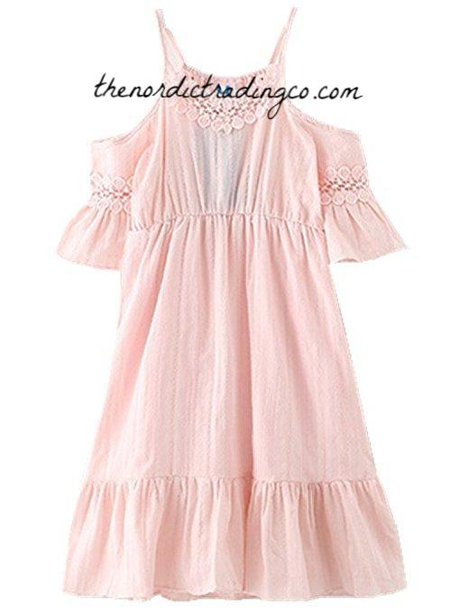 ccb991783 Little Girl s Blush Pink Cotton Lace Off Shoulder Flower Girl Beach ...