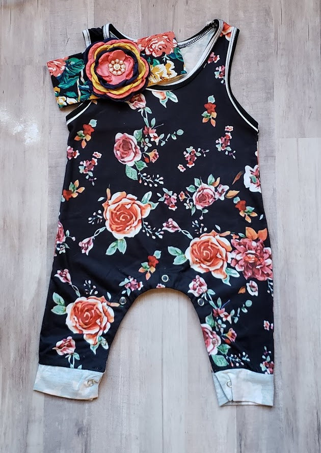 Baby Girl's Rustic Flowers Romper Infant Girls Clothes Headband Navy Rust Orange Colors Floral Pattern 6/12 mo Baby Shower Gift Ideas Infant Pumpkin Patch Photo Shoot