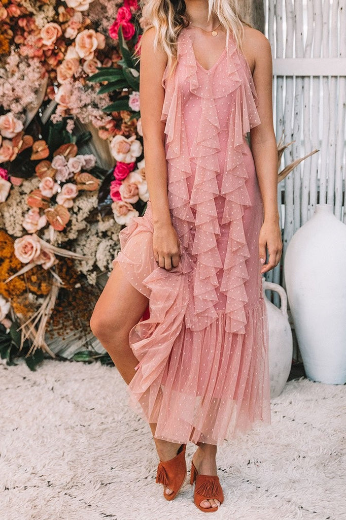 Womens Blush Boho Beach Wedding Dress / Gown S M L Haute Urban Women's Gown Backless Vintage Rose Dresses Alternative Romantic Wedding Dresses Pink Gowns