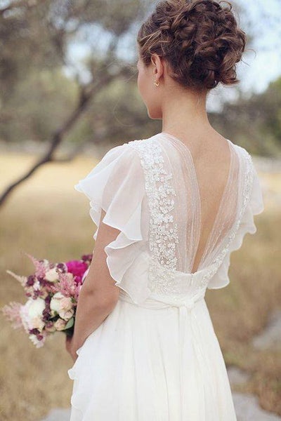 Soft Romantic Wedding Gown Perfect Beach Wedding Dresses Gowns Boho / Hippie Chic Design White Off White SZ 2 to 16 New Dress