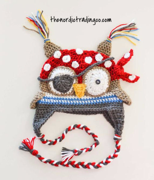 Boy's Owl Handmade Pirate Hat with Tassels