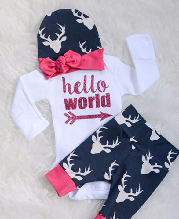 Hello World Baby Girls Outfit Baby Shower Gift Set 3 pc. Deer Theme Pant Hat LS Top Newborn Infant Girl Clothing Gifts Outfits