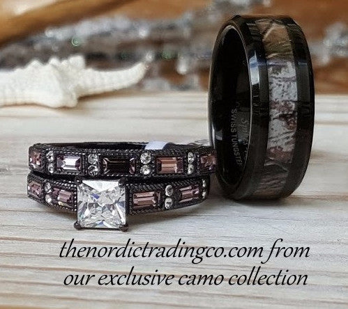 Rustic Wedding Rings Couples Women's Chocolate Engagement Ring & Men's  Wedding Band Camouflage Black Tungsten Carbide Forest Camo Inlay Hunter  Mens