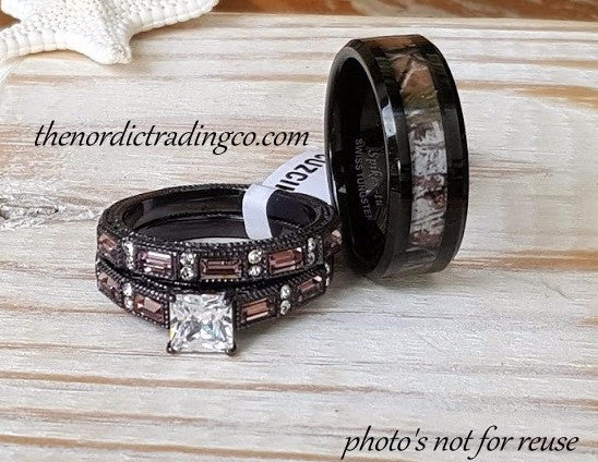 Rustic Wedding Rings Couples Women S Chocolate Engagement Ring