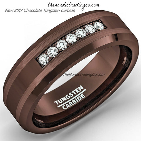 Espresso Brown Tungsten Carbide Men's Wedding Band Engagement Ring Groom Jewelry Gifts for Men Anniversary Birthday