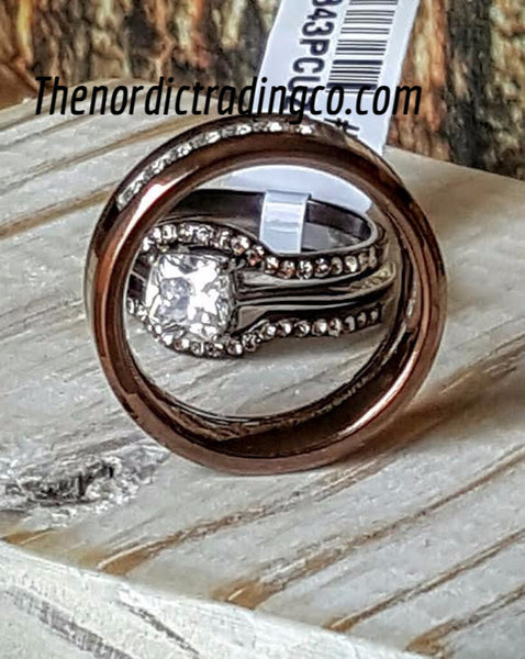 Striking New His & Hers Wedding Rings Set Men's Band Brown Tungsten CZ Inlay / Women's Stainless 3 Ring Set Silver Engagement Ring Brown Outer Bands
