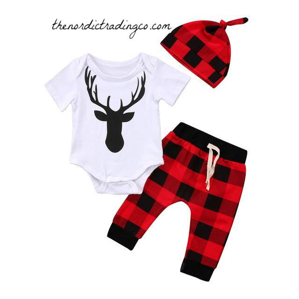 Lumber Jack Buffalo Plaid Nordic Baby Shower Gift Ideas Boy Boy's 3 pc Outfit Deer Rustic Sets Infant NB 6 9 12 18 mo