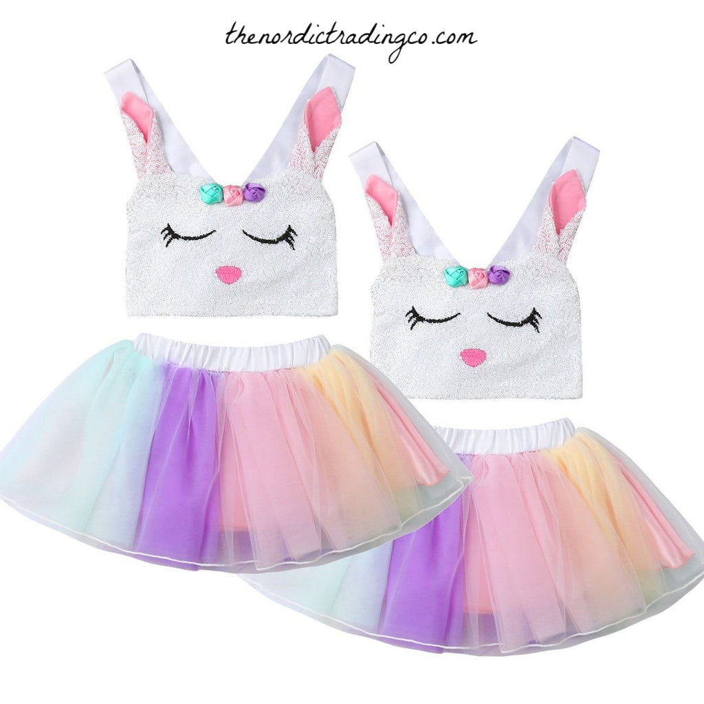 Easter Bunny Tutu Skirt & Sequin Top Toddler / Baby Girls Egg Hunt Outfit 2 pc Girl Sets Spring Celebration Skirt Halter Tops Bunny Ears Cottontail