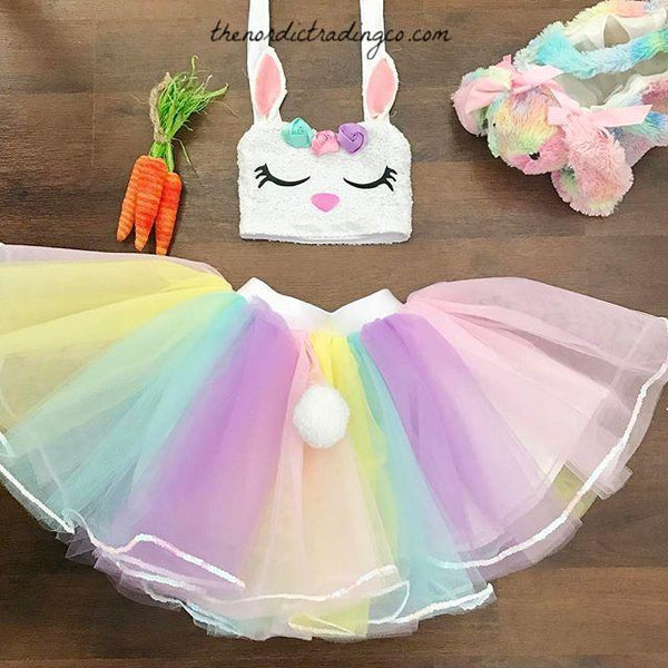 Girls Sequins Sleepy Bunny Top & Pastel Tutu Skirt Toddler Baby Girls Easter Sets Outfits