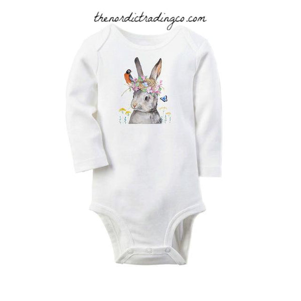 Easter Bunny Onesie Organic Cotton Long Sleeve Newborn Girls Baby Shower Gift Set Burlap / Flower Rabbit Ears Headband