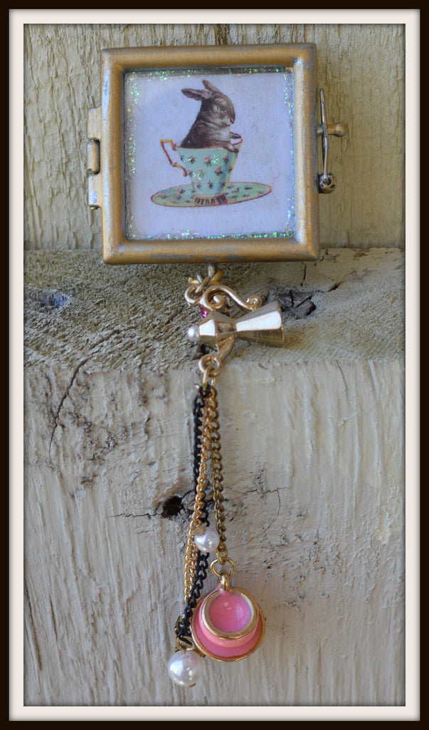 Tea Time for Bunny Handmade Mixed Media Pendant Necklace Teapot & Cup Charm Leaded Glass Frame Victorian Steampunk Women's Jewelry