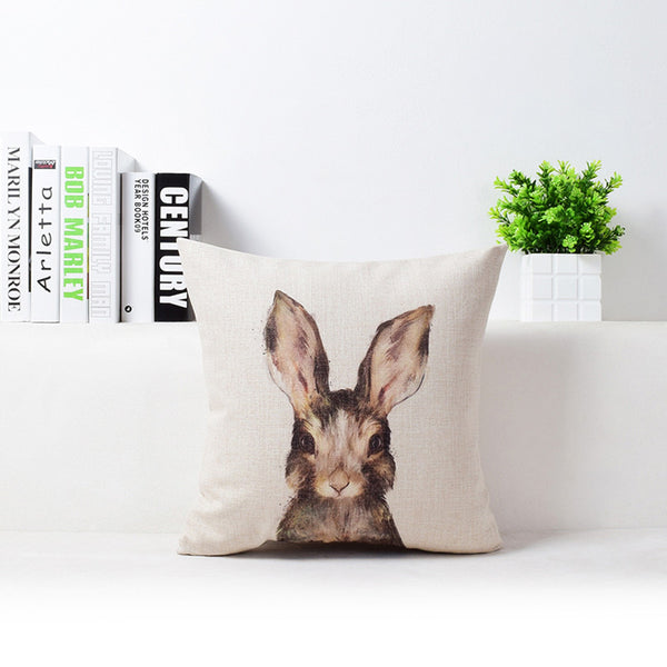 Premium Bunny Pillow Cover with Adorable Watercolor Art Design Spring Home Decor Linen Cushion Woodlands Animals