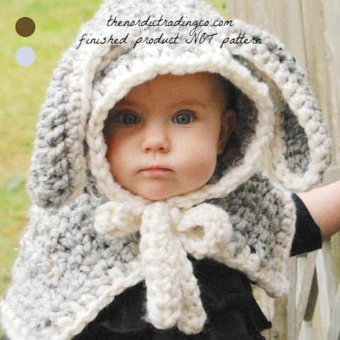 Easter Bunny Rabbit Baby Toddler Kid Capelet Hooded Cape Grey Kids Jacket Outerwear Childrens Coats Wraps Size 2 - 6 Spring Shawl Sweater Handmade Crochet Girls