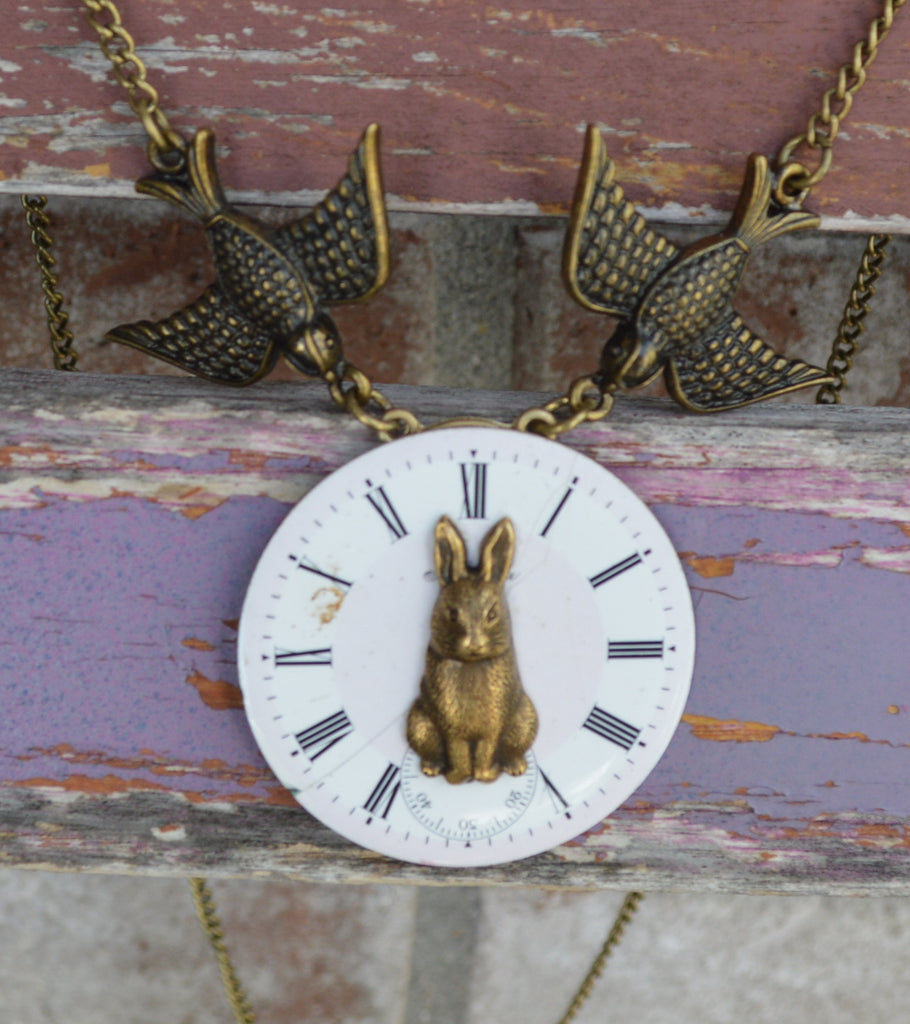 Vintage Women's Antique Watch Face Bronze Easter Bunny Necklace Handmade Jewelry Gifts for Her