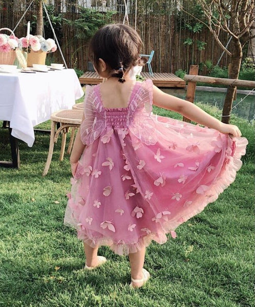 Flower Fairy / Butterfly Wings Girl's Party Dress Blush Pink or White Toddler Little Girl's Pixie Angel Dresses Garden Wedding Birthday Party Photo Prop Children's Occasion Attire Flower Girl