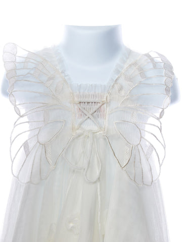 Angelic Wings Dress Baby Toddler Girl's Fairy Wing Dresses Blush Pink White Christening Baptism Flower Girl Wedding Birthday Party Clothes Kids