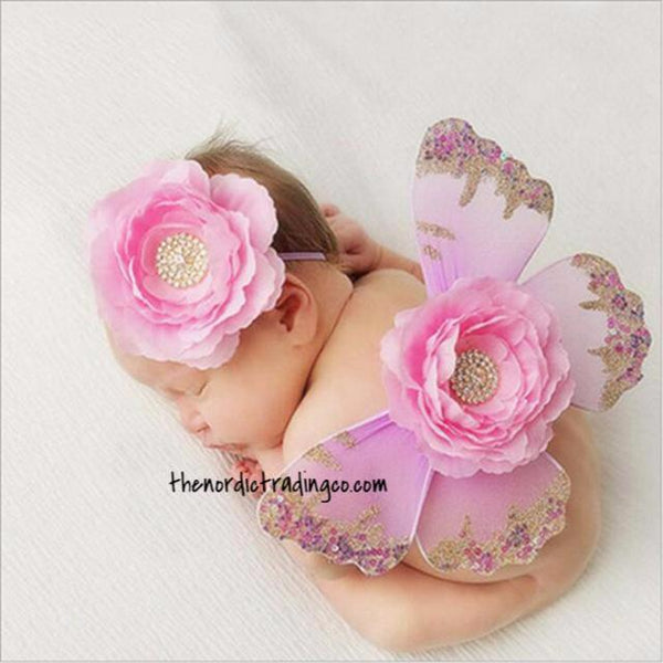 Shimmering Butterfly Wings Infant First Photo Props Gold Pink Christmas Colors Baby Shower Gifts Newborn Baby Pictures Girl Girl's
