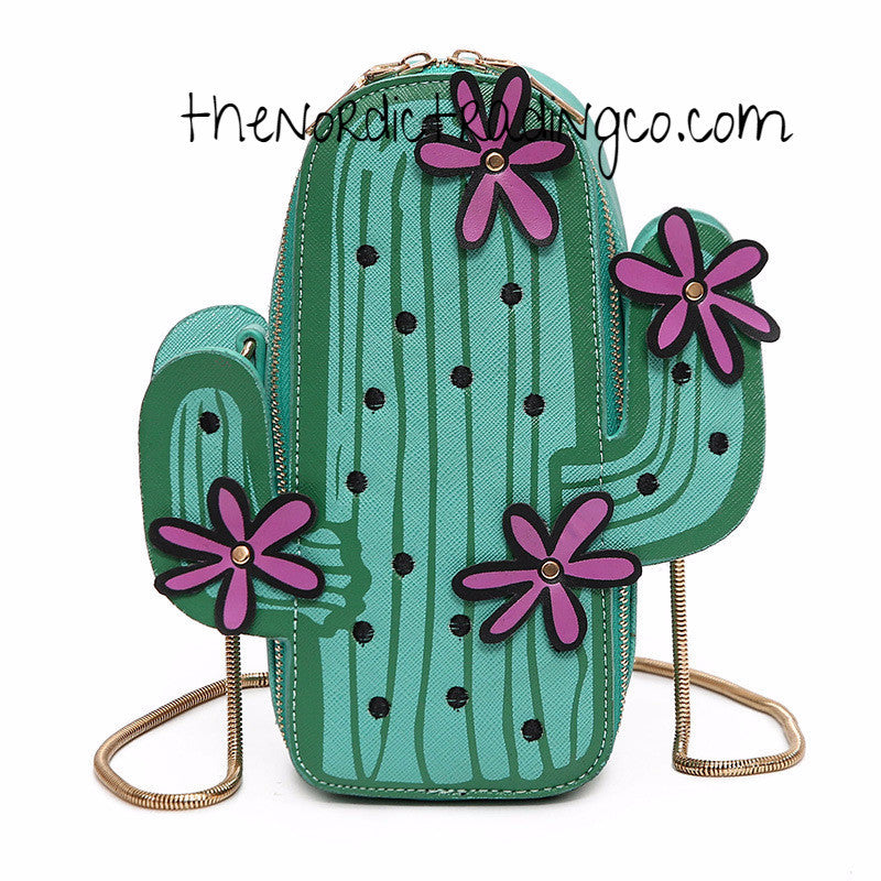 Trending Blooming Cactus Women's Purse Handbag Cute Back to School Chain Strap Zip Dust Back USA Stock Half Priced