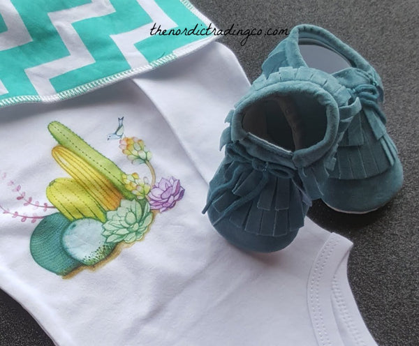 Boho Infant Cactus Outfit Gift Set Bodysuit Graphic Desert Muslin Swaddle Mocs Moccasins Shoes Teal Bib Boy Girl Unisex Boy's Girl's Outfits Baby Shower Gifts