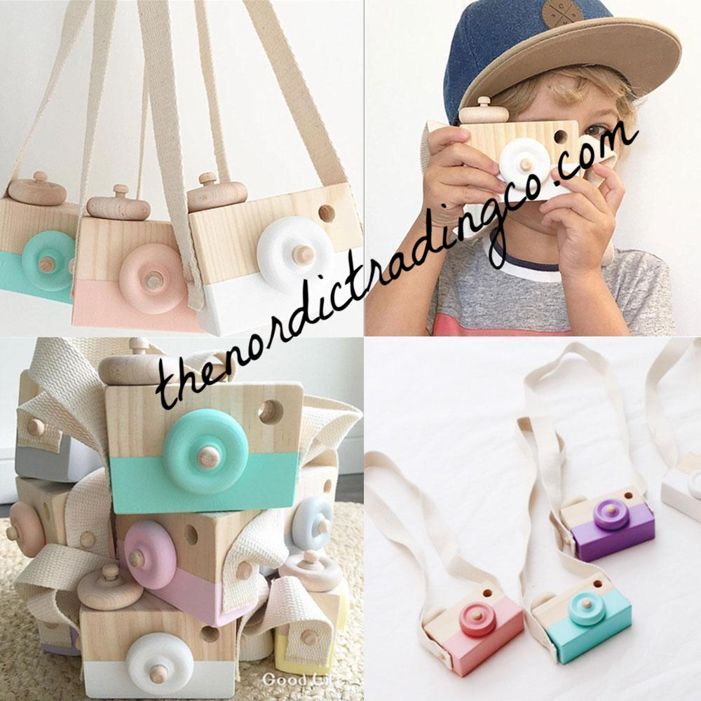 Nordic Wooden Toys Wood Camera & Long Strap Positive Play Creativity Imaginative Activities 4 Colors Blue Pink Purple White Toy Easter Baskets