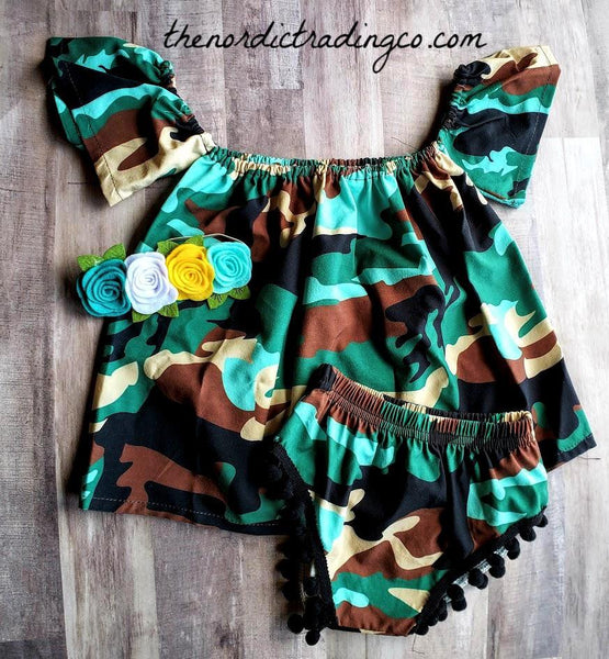 Camo Baby Girl's Outfit 6/12 mo Little Soldier Camouflage Pattern Outfits Infant Girls Set Gift Ideas USA Military Kids Childrens Clothes