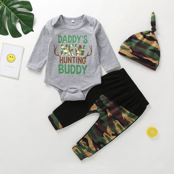 Newborn Camo Daddy's New Hunting Buddy Outfit Boys 3pc Set Onesie Pants Hat Baby Shower Hunter Inspired Gift Ideas Boy Clothing Infant Outfits