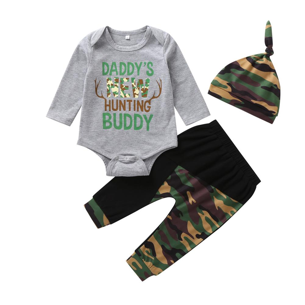 Newborn Camo Outfit Boys Daddy's New Hunting Buddy Set Baby Shower Gifts Infant Clothing Boy Outfits Hunt Inspired