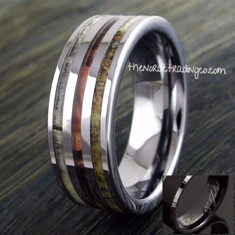 a00f25458d Newly Listed Men's Silver Tungsten Carbide Triple Inlay Deer Antler Camo  8mm Wedding Engagement Anniversary Men