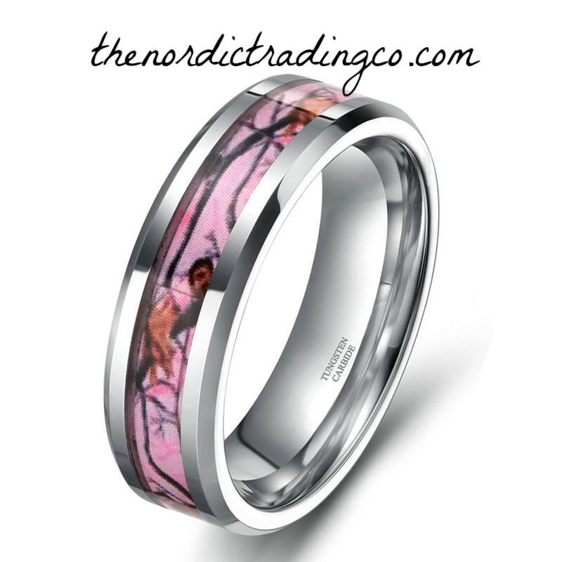 Women's Pink Camo Inlay Tungsten Carbide Ring Band Wedding Engagement Rings Couples His Hers Outdoorsman Hunter Jewelry