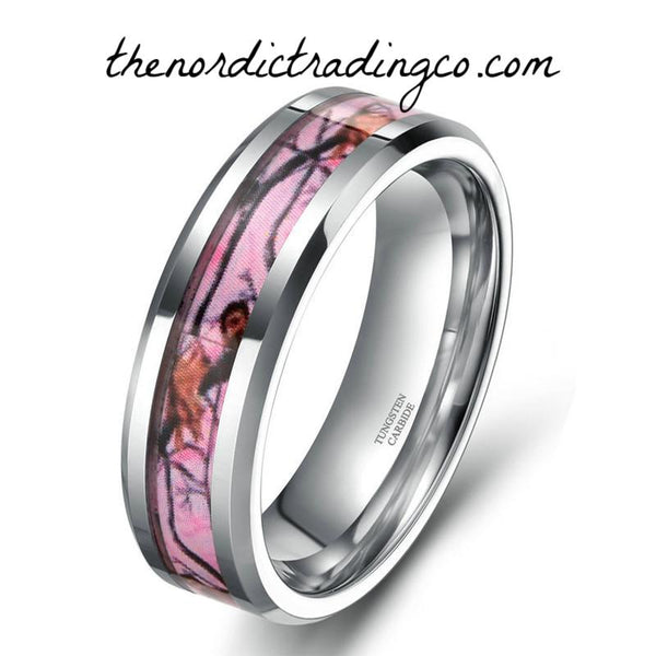 Women's Silver Tungsten Carbide Pink Camo Inlay Wedding Ring Band Engagement Rings Hunter Jewelry Bands Womens' Mom Mother