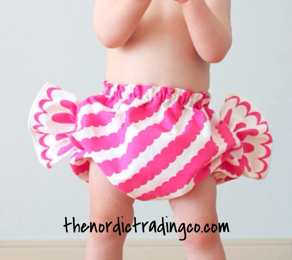 Hot 2016 So Sweet and Adorable You'll Want To Eat Her All Up Candy Pants Pink White Big Stripe One Size Fits Most 18 mo to 2T and 3T Diaper Cover Bloomers