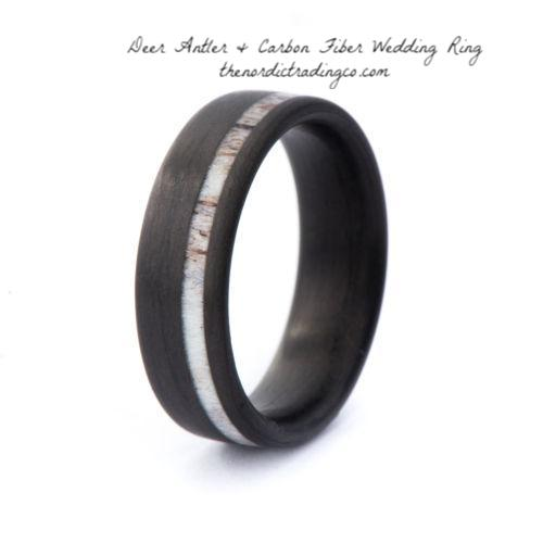 Men's Stag Antler Inlay & Black Carbon Fiber Wedding Band Ring 8mm High Quality Deer Antlers Mens Rings / Bands SZ 8 - 13 USA
