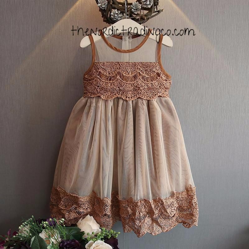 Beautiful Little Girl's Vintage Carmel Brown Tones Victorian Lace Lined Zip Back Toddler Girls Special Occasion Dress Rustic Flower Girl