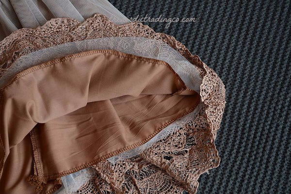 Flower Girl's Dresses Vintage Caramel Coffee Color Victorian Lace Toddler Big Girl Tea Length Dress Layers Tulle Mesh Flower Girl's Rustic Glam Barn Woodlands Wedding Dresses Special Occasion