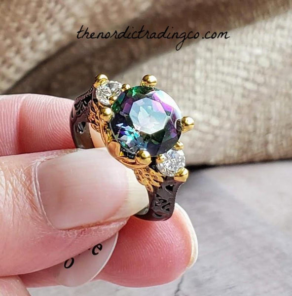 Black Gold Mystic Rainbow Topaz Women's 3 Stone Ring Wedding Engagement Rings Sz 6-9 Womens' Jewelry Gifts Her Christmas Wedding Anniversary Jewellery Free Shipping Worldwide